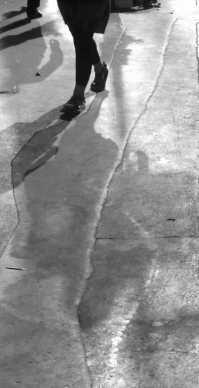 Walk, London, pavement, office, shadow