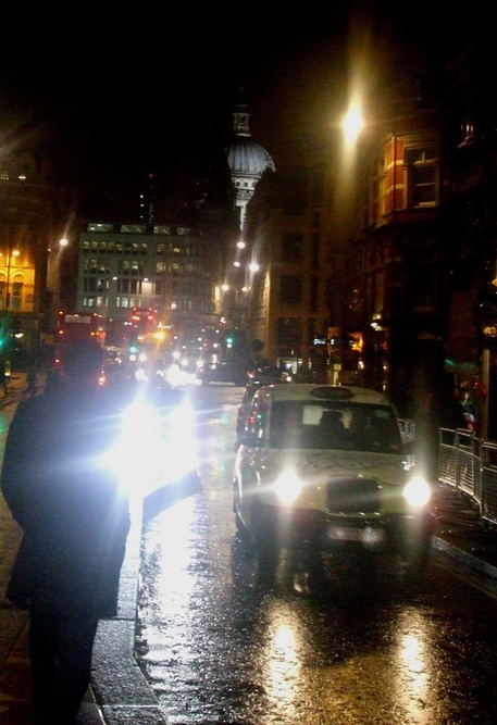 St Paul's cathedral, taxi, London, magic, night, city lights