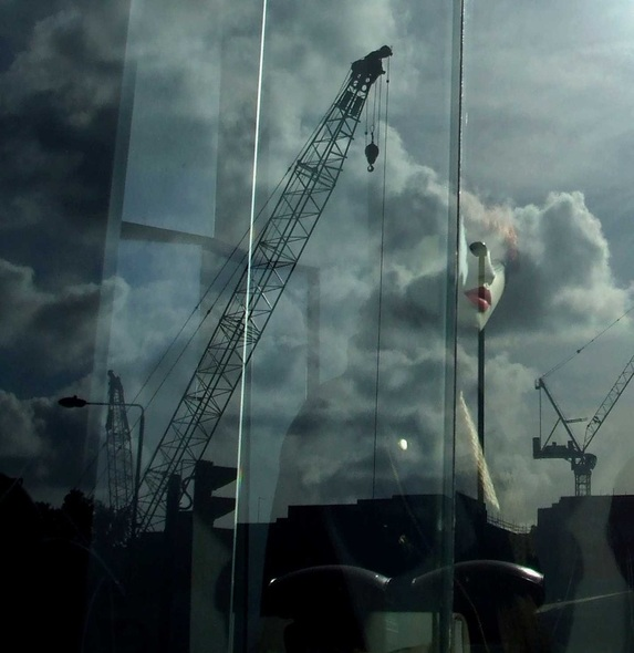 London, art, enchantress, sorcery, witch, crane, clouds, skyscape, cityscape, model